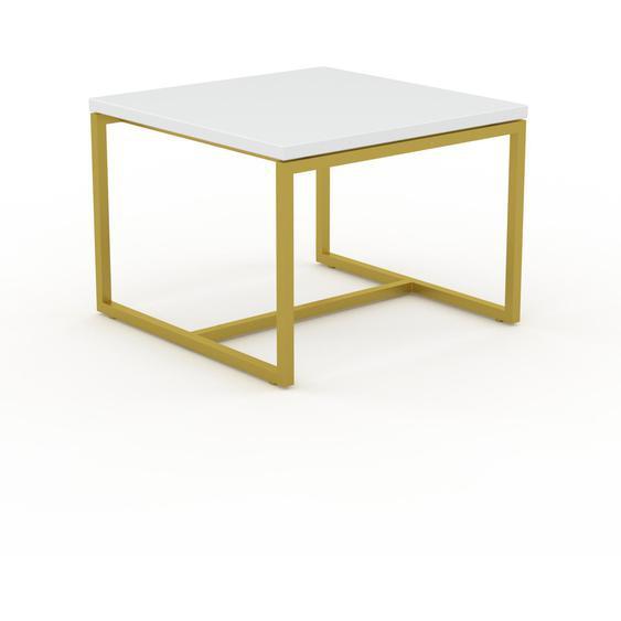 Table basse - Blanc avec des jambes dorées, design, bout de canapé sophistiqué - 42 x 31 x 42 cm, personnalisable