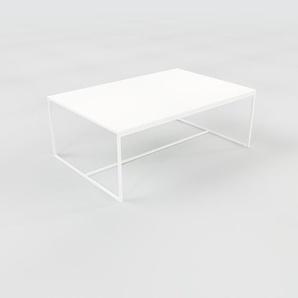 Table basse - Blanc, design, bout de canapé sophistiqué - 121 x 46 x 81 cm, personnalisable