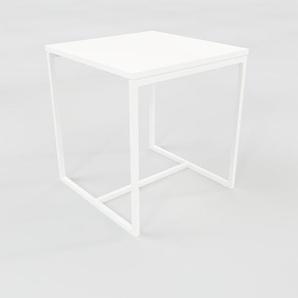 Table basse - Blanc, design, bout de canapé sophistiqué - 42 x 46 x 42 cm, personnalisable