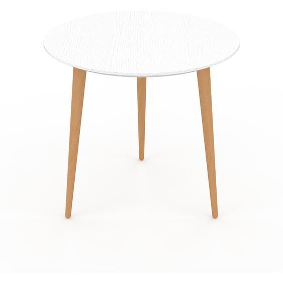 Table basse - Blanc, ronde, design scandinave, petite table pour salon élégante - 50 x 47 x 50 cm, personnalisable