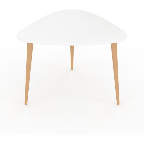 Table basse - Blanc, triangulaire, design scandinave, petite table pour salon élégante - 59 x 44 x 61 cm, personnalisable