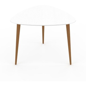Table basse - Blanc, triangulaire, design scandinave, petite table pour salon élégante - 59 x 47 x 61 cm, personnalisable