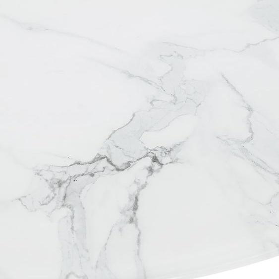 Table basse de salon GOST MINI en verre effet marbre blanche et ronde