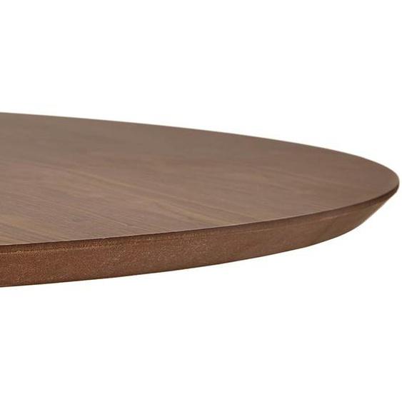 Table basse de salon ronde BUSTER MINI en bois finition Noyer et pied en métal noir - Ø 90 cm