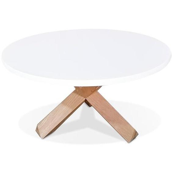 Table basse de salon ronde MARVEL blanche et chêne massif - Ø 80 cm