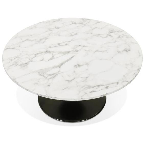 Table basse de salon URSUS MINI en pierre blanche effet marbre avec un pied central noir