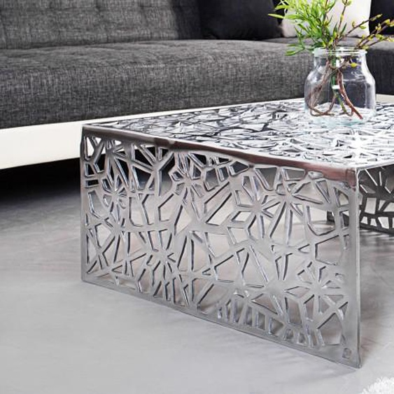 Table basse design en aluminium poli - Clive