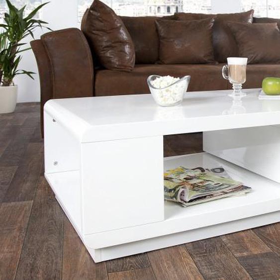 Table basse design tiroir pivotant - Maxan - Blanc et Gris anthra