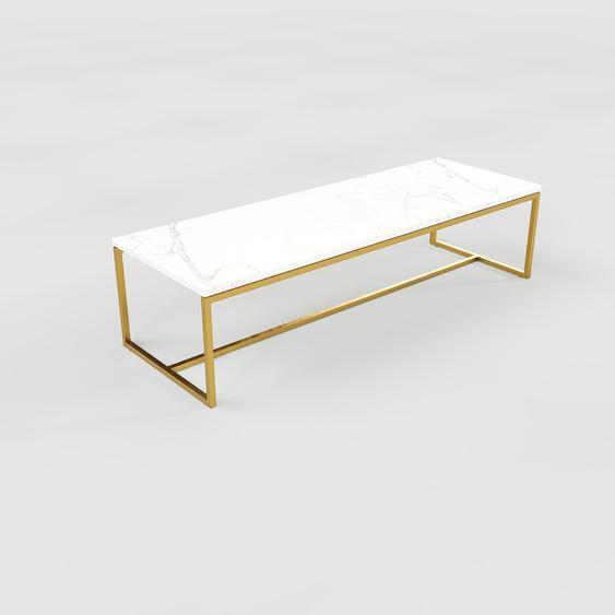 Table basse en marbre Blanc Carrara avec des jambes dorées, design contemporain, bout de canapé luxueux et sophistiqué - 121 x 31 x 42 cm, personnalisable