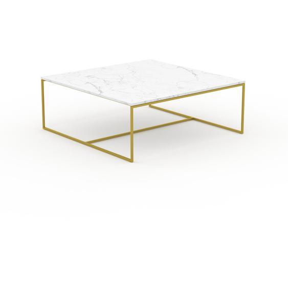 Table basse en marbre Blanc Carrara avec des jambes dorées, design contemporain, bout de canapé luxueux et sophistiqué - 121 x 46 x 121 cm, personnalisable