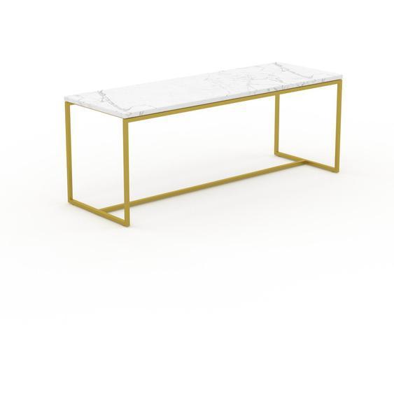 Table basse en marbre Blanc Carrara avec des jambes dorées, design contemporain, bout de canapé luxueux et sophistiqué - 121 x 46 x 42 cm, personnalisable