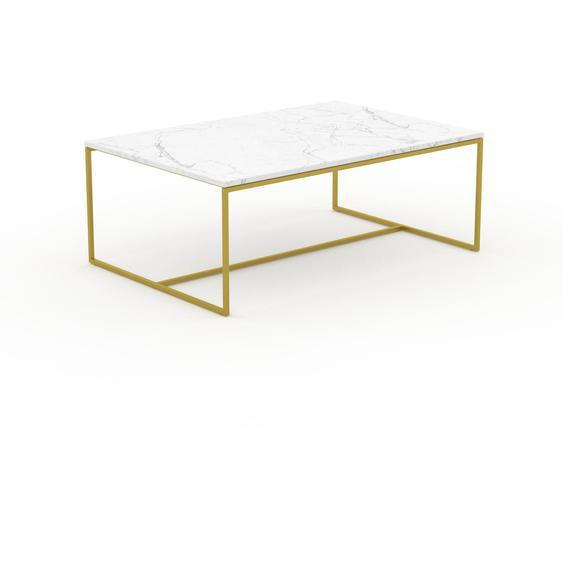Table basse en marbre Blanc Carrara avec des jambes dorées, design contemporain, bout de canapé luxueux et sophistiqué - 121 x 46 x 81 cm, personnalisable