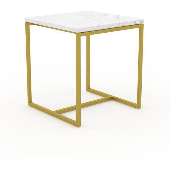Table basse en marbre Blanc Carrara avec des jambes dorées, design contemporain, bout de canapé luxueux et sophistiqué - 42 x 46 x 42 cm, personnalisable