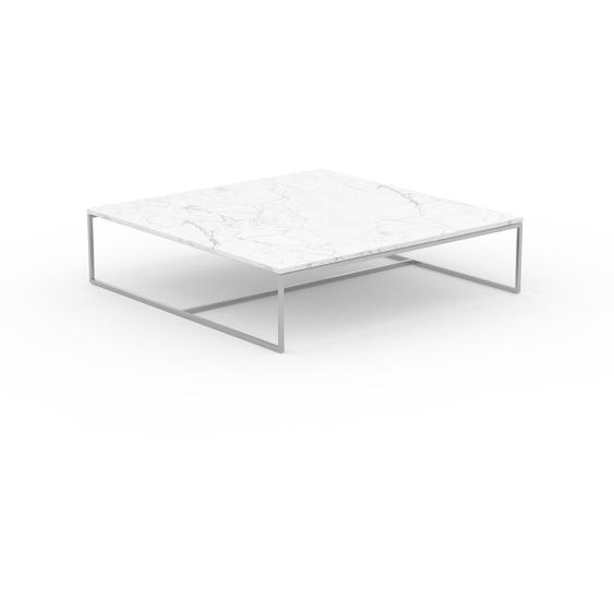 Table basse en marbre Blanc Carrara, design contemporain, bout de canapé luxueux et sophistiqué - 121 x 31 x 121 cm, personnalisable