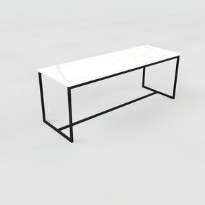 Table basse - blanc Carrara, design, bout de canapé sophistiqué - 121 x 46 x 42 cm, personnalisable