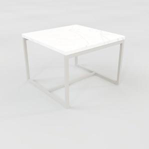 Table basse - blanc Carrara, design, bout de canapé sophistiqué - 42 x 31 x 42 cm, personnalisable