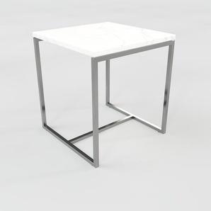 Table basse en marbre Blanc Carrara, design contemporain, bout de canapé luxueux et sophistiqué - 42 x 46 x 42 cm, personnalisable