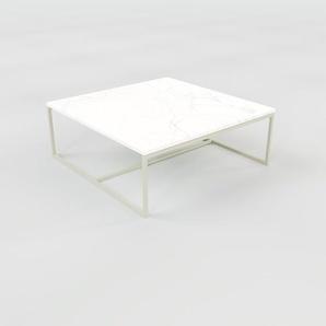 Table basse en marbre Blanc Carrara, design contemporain, bout de canapé luxueux et sophistiqué - 81 x 31 x 81 cm, personnalisable