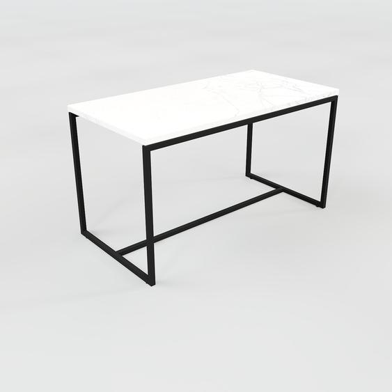 Table basse en marbre Blanc Carrara, design contemporain, bout de canapé luxueux et sophistiqué - 81 x 46 x 42 cm, personnalisable