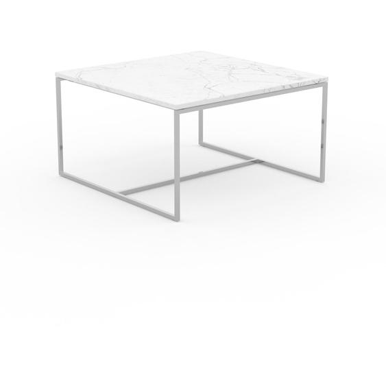Table basse en marbre Blanc Carrara, design contemporain, bout de canapé luxueux et sophistiqué - 81 x 46 x 81 cm, personnalisable