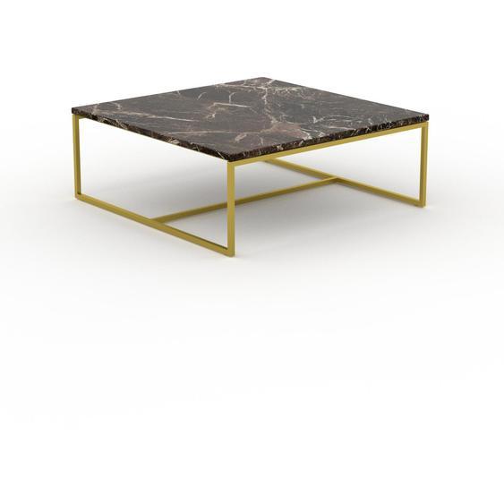 Table basse en marbre Marron Emperador avec des jambes dorées, design contemporain, bout de canapé luxueux et sophistiqué - 81 x 31 x 81 cm, personnalisable