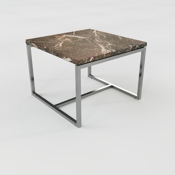 Table basse en marbre Marron Emperador, design contemporain, bout de canapé luxueux et sophistiqué - 42 x 31 x 42 cm, personnalisable