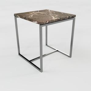 Table basse en marbre Marron Emperador, design contemporain, bout de canapé luxueux et sophistiqué - 42 x 46 x 42 cm, personnalisable