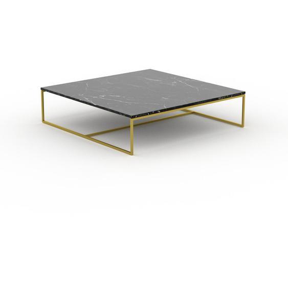 Table basse en marbre Noir Marquina avec des jambes dorées, design contemporain, bout de canapé luxueux et sophistiqué - 121 x 31 x 121 cm, personnalisable