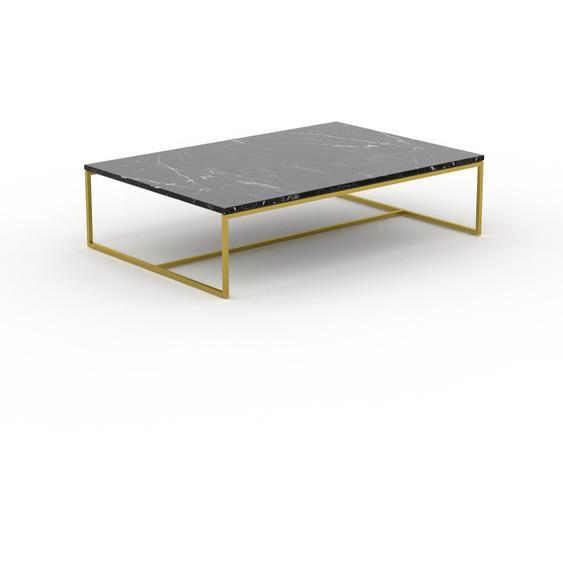 Table basse en marbre Noir Marquina avec des jambes dorées, design contemporain, bout de canapé luxueux et sophistiqué - 121 x 31 x 81 cm, personnalisable