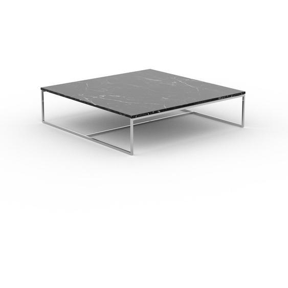 Table basse en marbre Noir Marquina, design contemporain, bout de canapé luxueux et sophistiqué - 121 x 31 x 121 cm, personnalisable