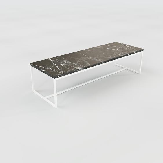 Table basse en marbre Noir Marquina, design contemporain, bout de canapé luxueux et sophistiqué - 121 x 31 x 42 cm, personnalisable