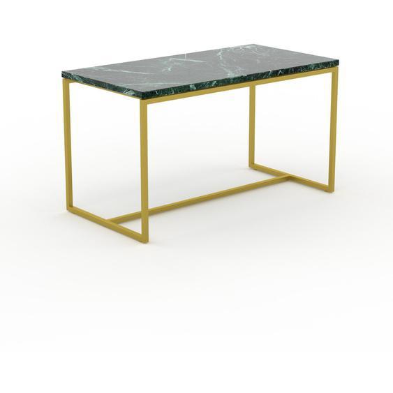 Table basse en marbre Vert Guatemala avec des jambes dorées, design contemporain, bout de canapé luxueux et sophistiqué - 81 x 46 x 42 cm, personnalisable