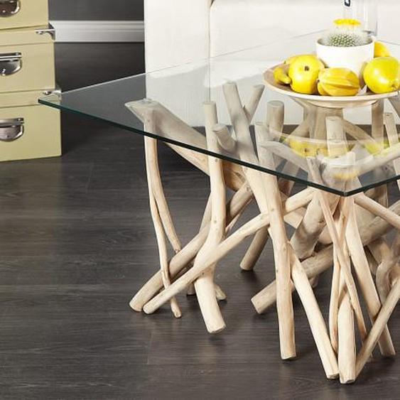 Table basse en verre avec bois flotté - Clay
