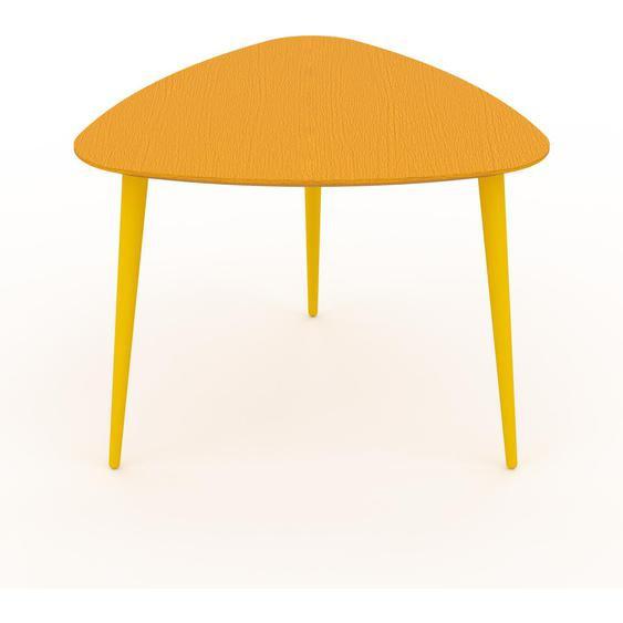 Table basse - Jaune, triangulaire, design scandinave, petite table pour salon élégante - 59 x 47 x 61 cm, personnalisable
