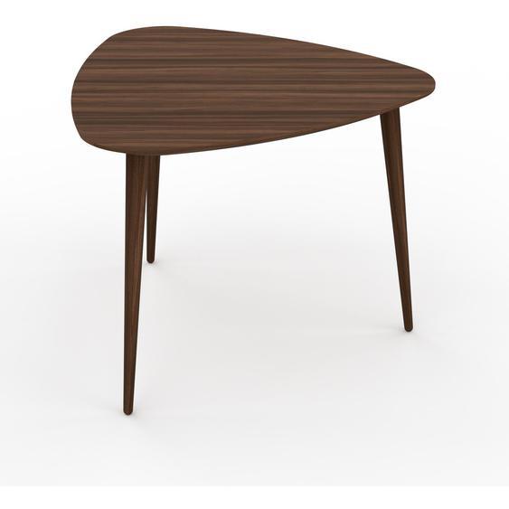 Table basse - Noyer, triangulaire, design scandinave, petite table pour salon élégante - 59 x 47 x 61 cm, personnalisable