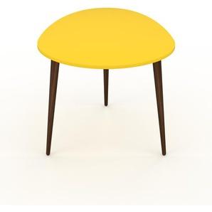 Table basse - Jaune, ovale, design scandinave, petite table pour salon élégante - 67 x 47 x 50 cm, personnalisable