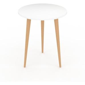 Table basse - Blanc, ronde, design scandinave, petite table pour salon élégante - 40 x 50 x 40 cm, personnalisable