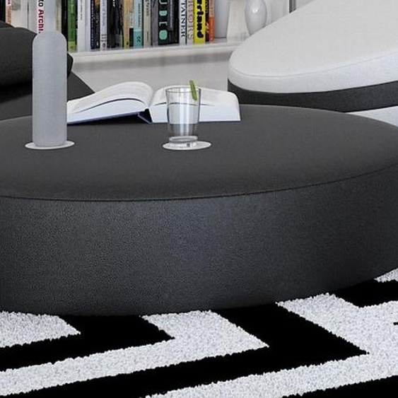 Table basse ronde simili cuir - Austar - Noir