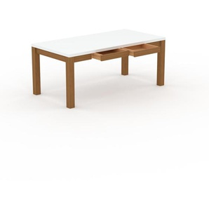 Table - Blanc, moderne, avec tiroir Chêne et cadre Chêne - 180 x 76 x 90 cm, personnalisable