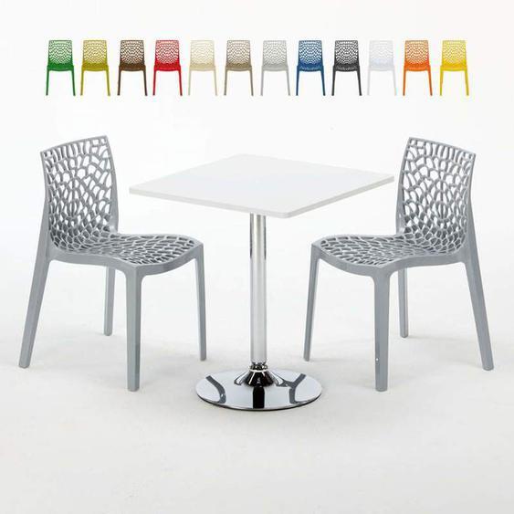 Table Carrée Blanche 70x70cm Avec 2 Chaises Colorées Grand Soleil Set Intérieur Bar Café Gruvyer Cocktail | Gris