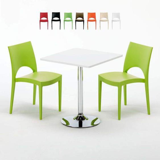 Table Carrée Blanche 70x70cm Avec 2 Chaises Colorées Set Intérieur Bar Café Paris Cocktail | Vert - Grand Soleil