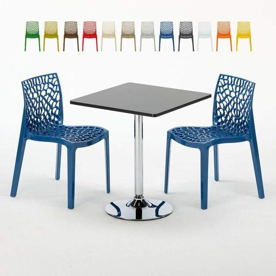 Table Carrée Noire 70x70cm Avec 2 Chaises Colorées Set Intérieur Bar Café Gruvyer Mojito | Bleu - Grand Soleil