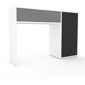 Table console - Blanc, contemporaine, avec porte Anthracite et tiroir Gris - 116 x 80 x 35 cm, personnalisable