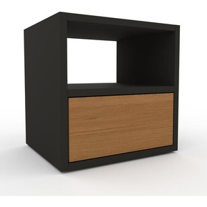 Table de chevet - Anthracite, contemporaine, table de nuit, avec tiroir Chêne - 41 x 41 x 35 cm, modulable
