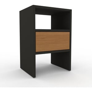 Table de chevet - Anthracite, contemporaine, table de nuit, avec tiroir Chêne - 41 x 61 x 35 cm, modulable