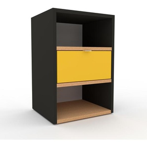Table de chevet - Anthracite, contemporaine, table de nuit, avec tiroir Jaune - 41 x 61 x 35 cm, modulable