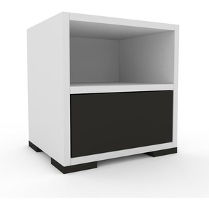 Table de chevet - Blanc, contemporaine, table de nuit, avec tiroir Anthracite - 41 x 43 x 35 cm, modulable