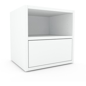 Table de chevet - Blanc, contemporaine, table de nuit, avec tiroir Blanc - 41 x 41 x 35 cm, modulable