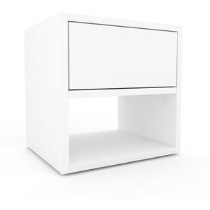 Table de chevet - Blanc, contemporaine, table de nuit, avec tiroir Blanc - 41 x 41 x 35 cm, modulable