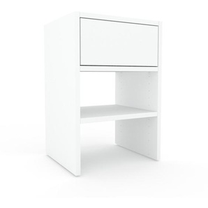 Table de chevet - Blanc, contemporaine, table de nuit, avec tiroir Blanc - 41 x 61 x 35 cm, modulable